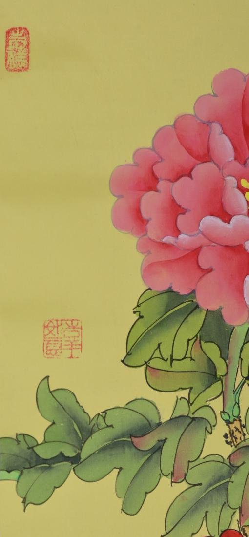MENG TANG Chinese Watercolor Peony Scroll - 5