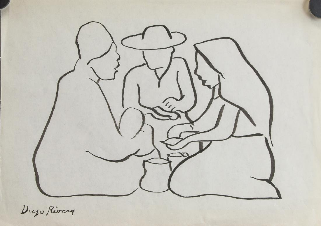 Mexican Ink on Paper Signed Diego Rivera