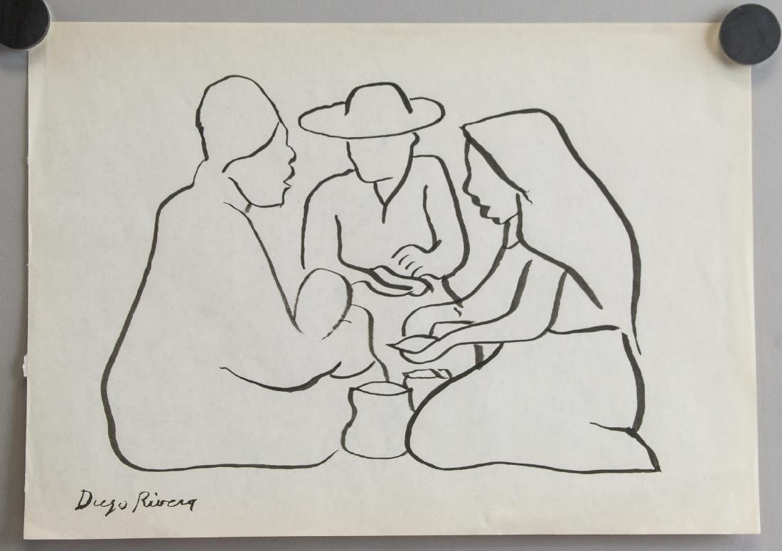 Mexican Ink on Paper Signed Diego Rivera - 2
