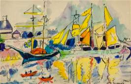 French Watercolor Signed P. Signac