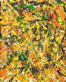 American Abstract Oil on Canvas Signed Pollock