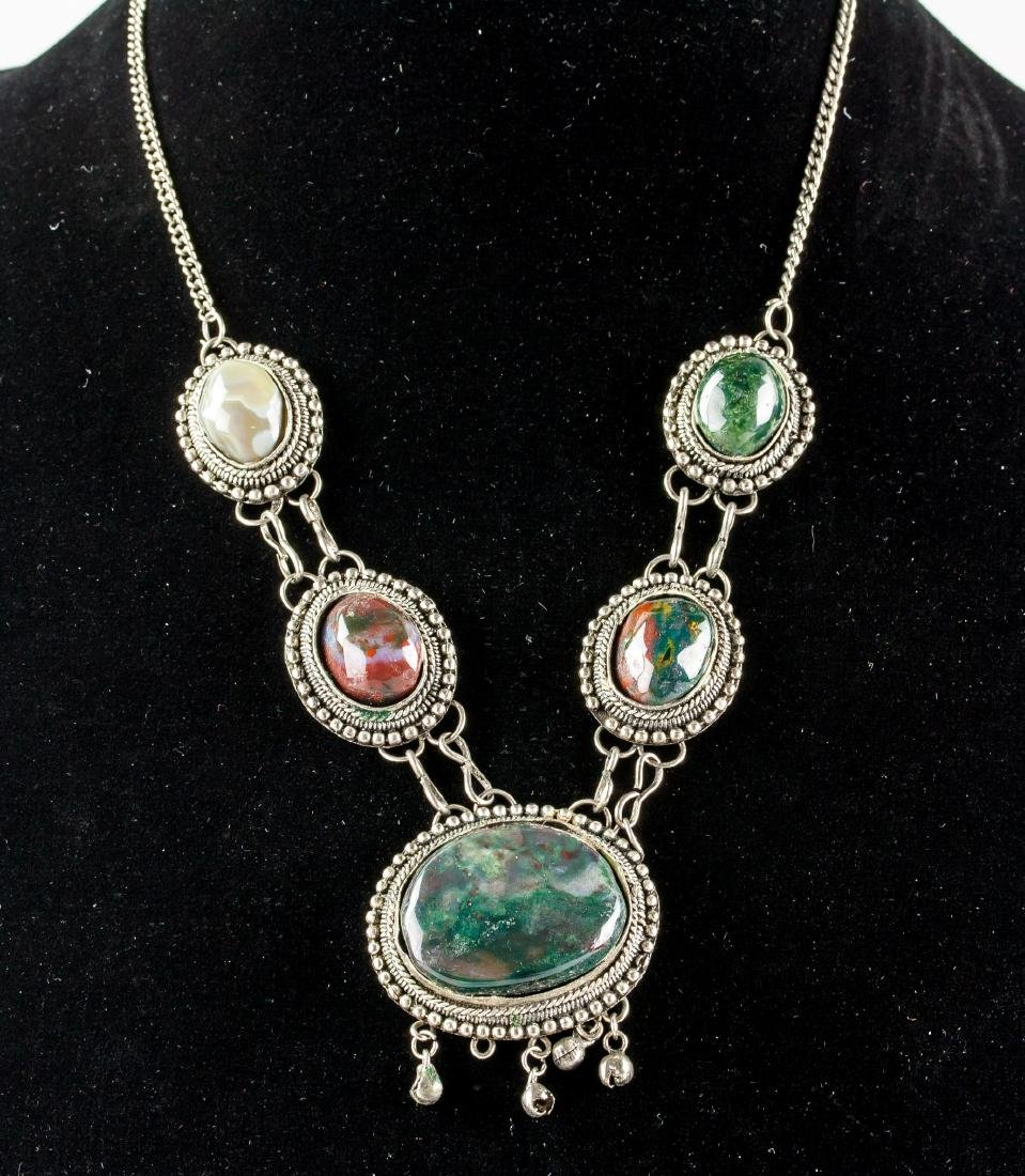 Chinese Hardstone Carved Necklace