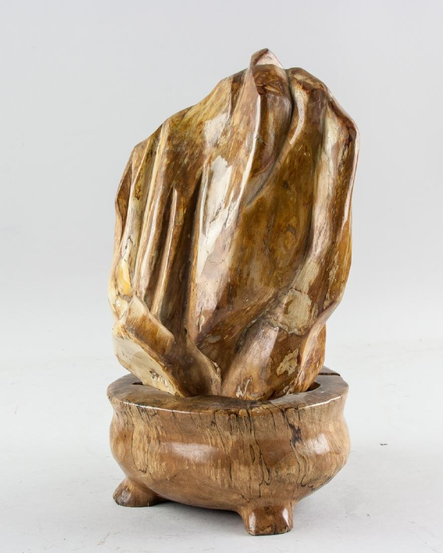 Fossilized Wood 'Scholar's Rock' with Wood Stand