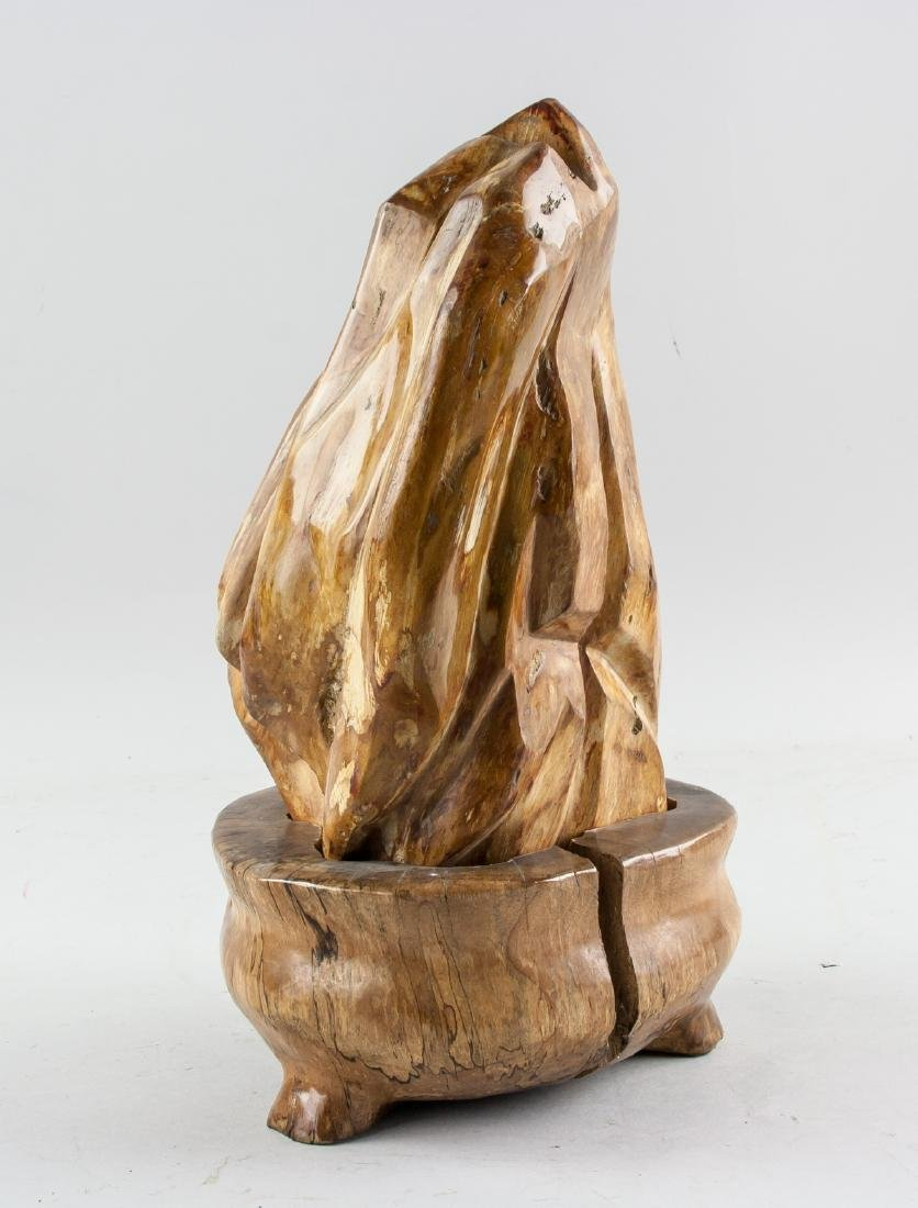 Fossilized Wood 'Scholar's Rock' with Wood Stand - 2