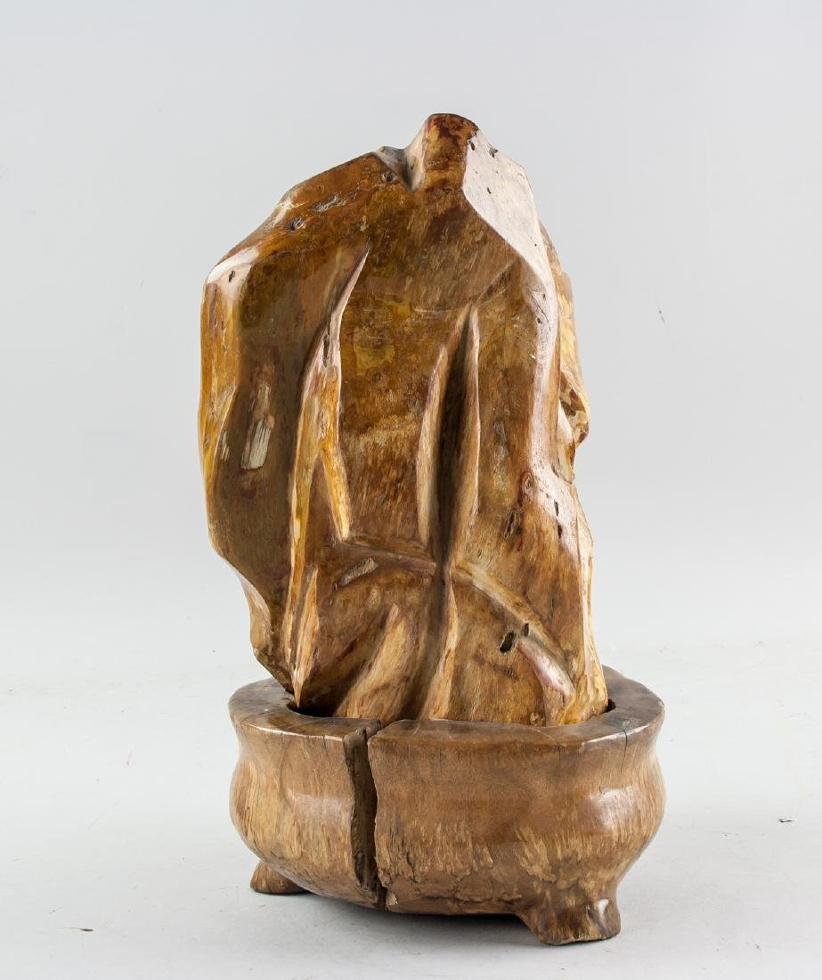 Fossilized Wood 'Scholar's Rock' with Wood Stand - 3