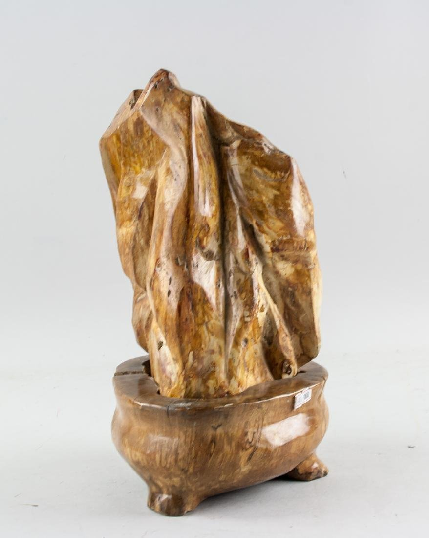 Fossilized Wood 'Scholar's Rock' with Wood Stand - 4