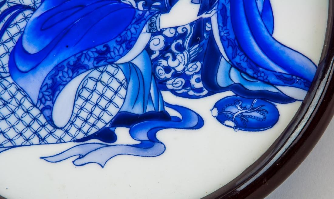 Chinese Blue and White Porcelain Beauty Plaque - 4