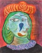 Spanish Cubist Oil on Canvas Signed Picasso