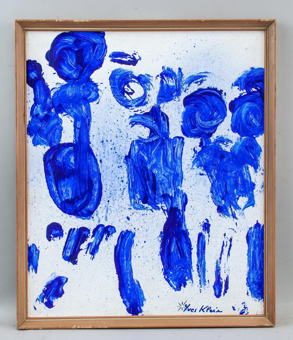 French Abstract Oil on Canvas Signed Yves Klein - 2