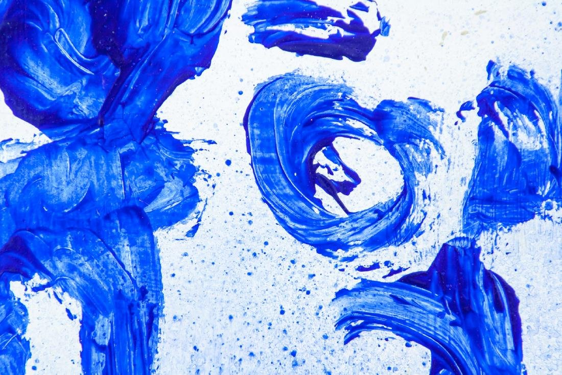 French Abstract Oil on Canvas Signed Yves Klein - 3