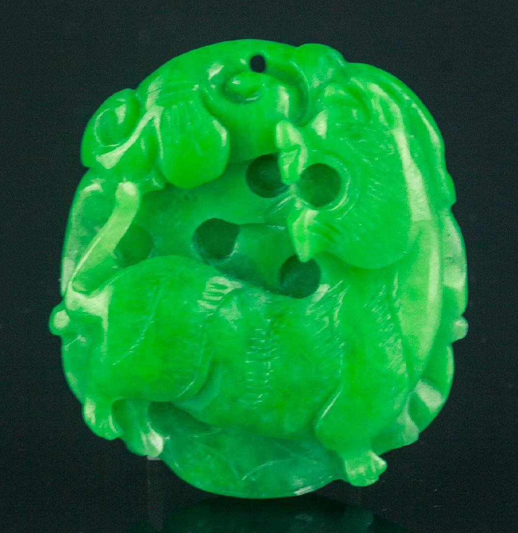 Chinese Green Jade Carved Pendant