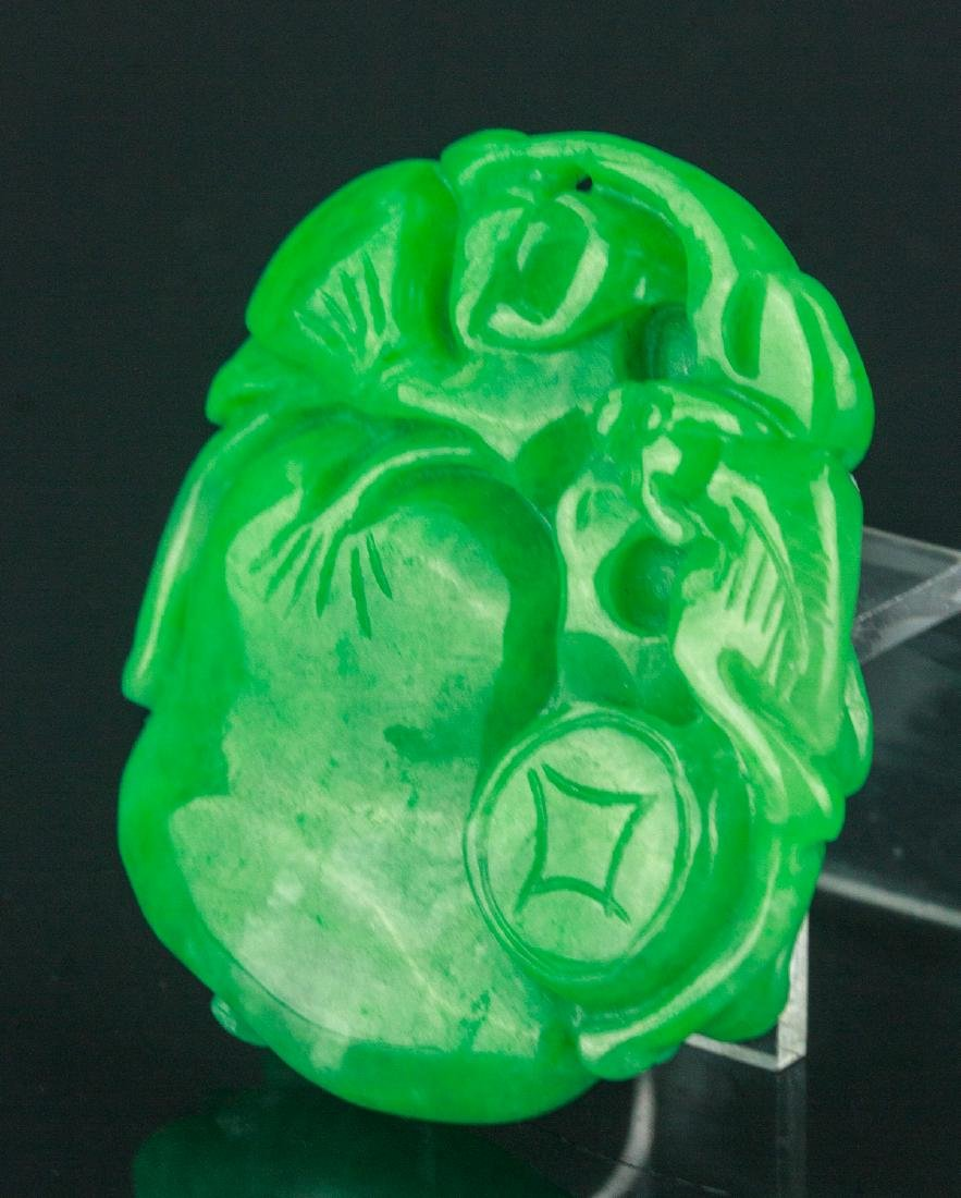Chinese Green Jade Carved Pendant - 3
