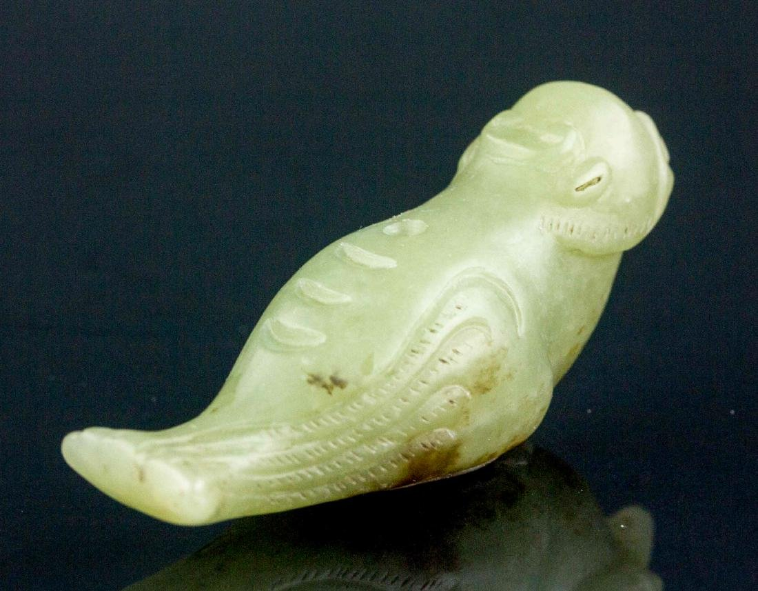 Chinese Hetian White Jade Carved Bird Pendant - 3