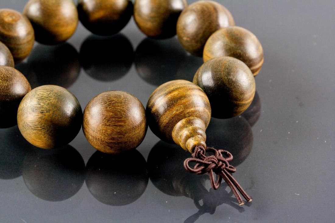 Chinese Zitan Wood Carved Bracelet - 2