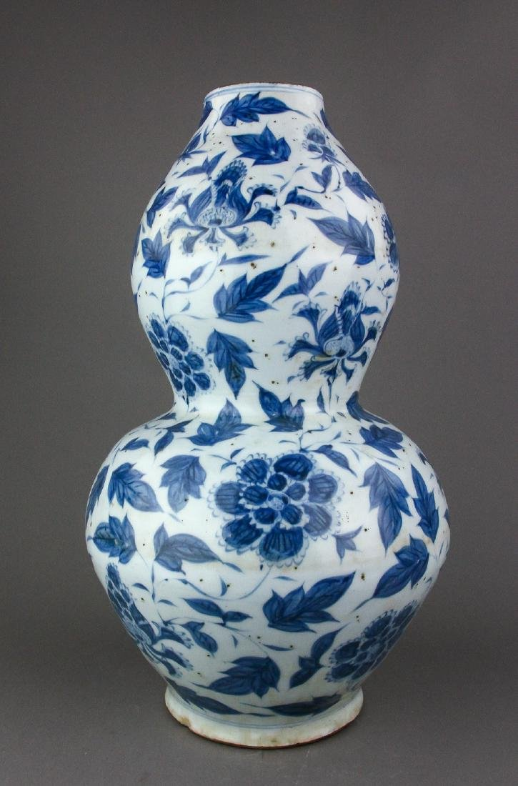 Chinese Ming Style B & W Porcelain Gourd Vase - 3