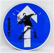 British Pop Art Reflective Arrow Sign Signed Banksy