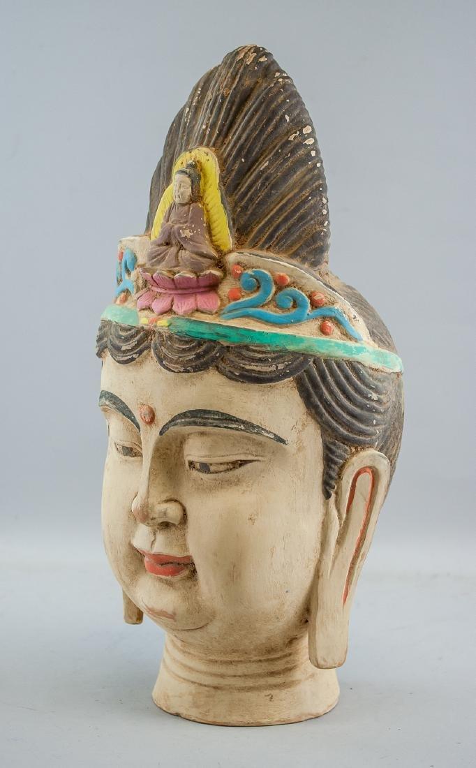Chinese Large Pottery Guanyin Bodhisattva Head - 2