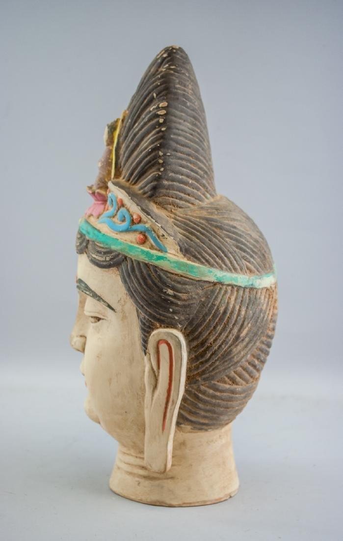 Chinese Large Pottery Guanyin Bodhisattva Head - 3