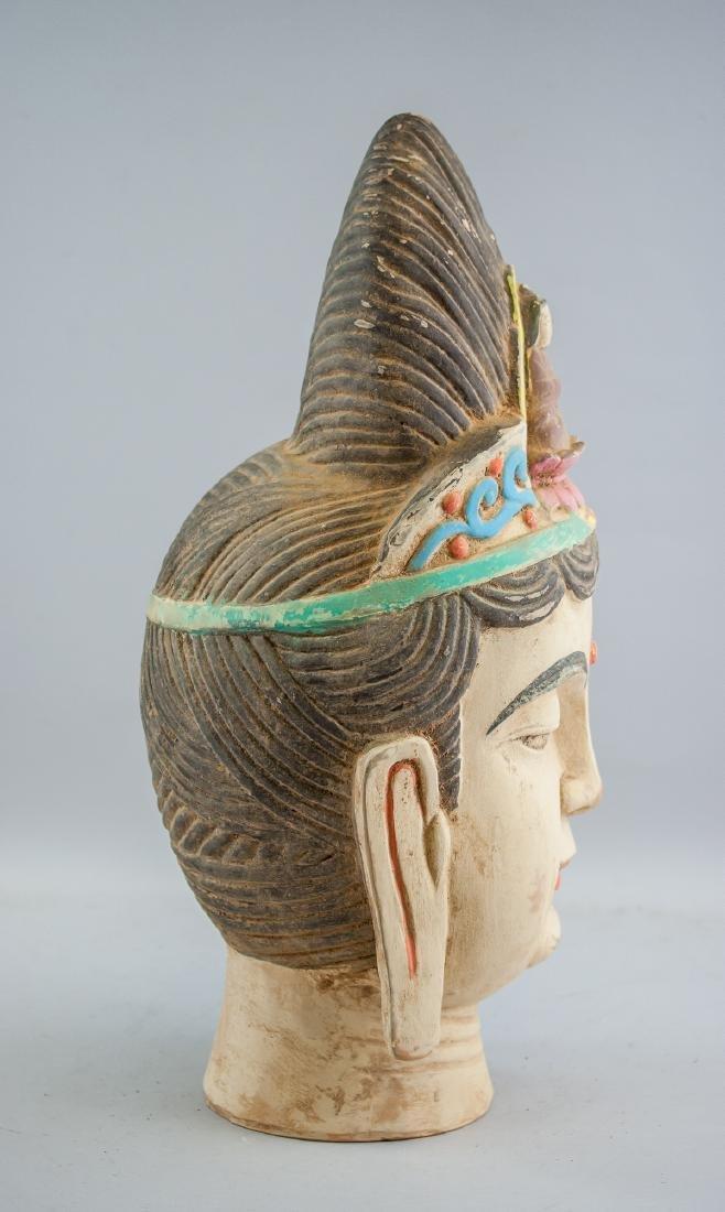 Chinese Large Pottery Guanyin Bodhisattva Head - 7