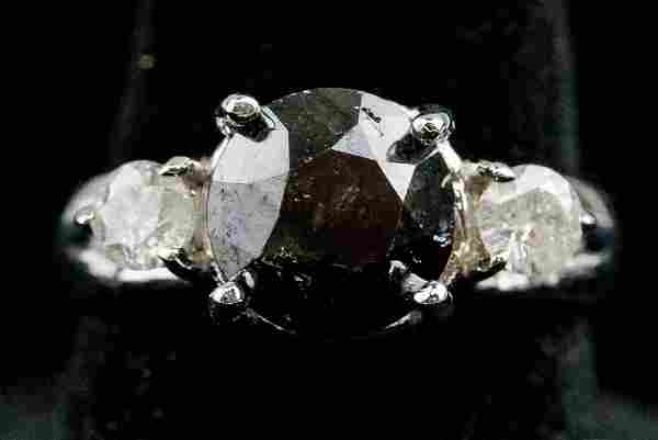 3.1ct Black Diamond White Gold Ring CRV $6850