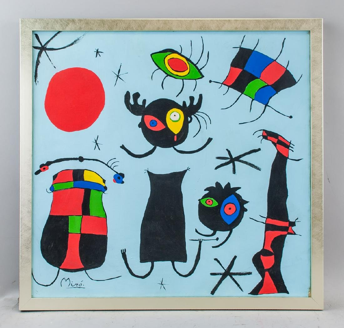 Joan Miro Spanish Surrealist Oil on Canvas - 2