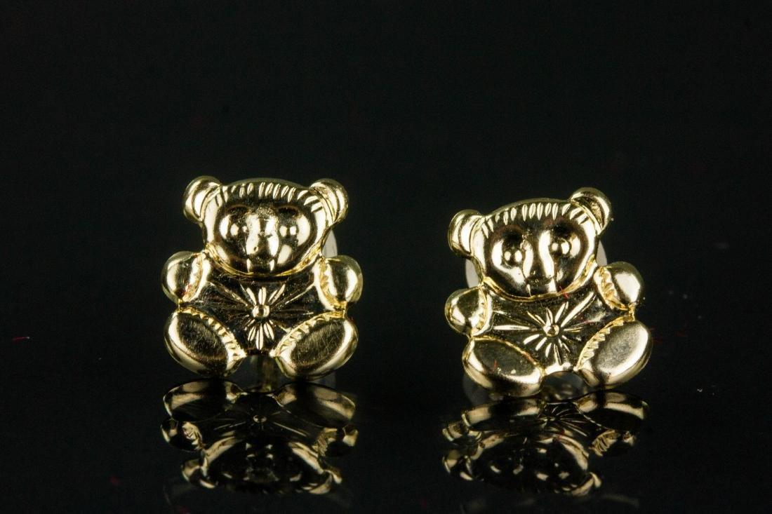 14K Gold Teddy Bear Earrings Retail $200 - 3