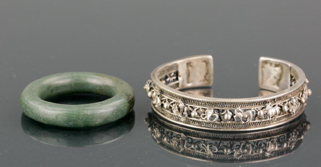 Lot of Chinese Bracelet & Spinach Carved Bangle