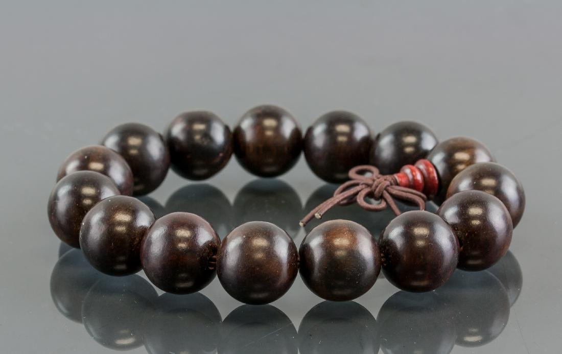 Pair of Chinese Wood Carved Round Bead Bracelet - 3