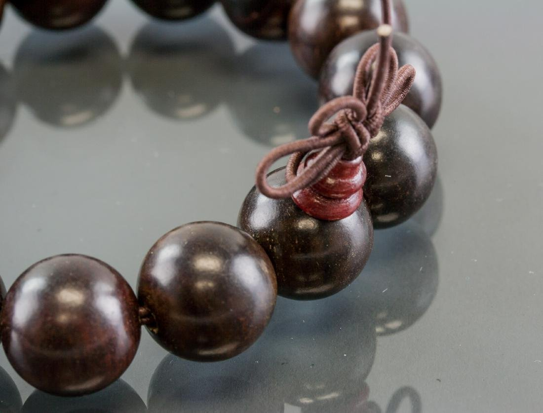 Pair of Chinese Wood Carved Round Bead Bracelet - 5
