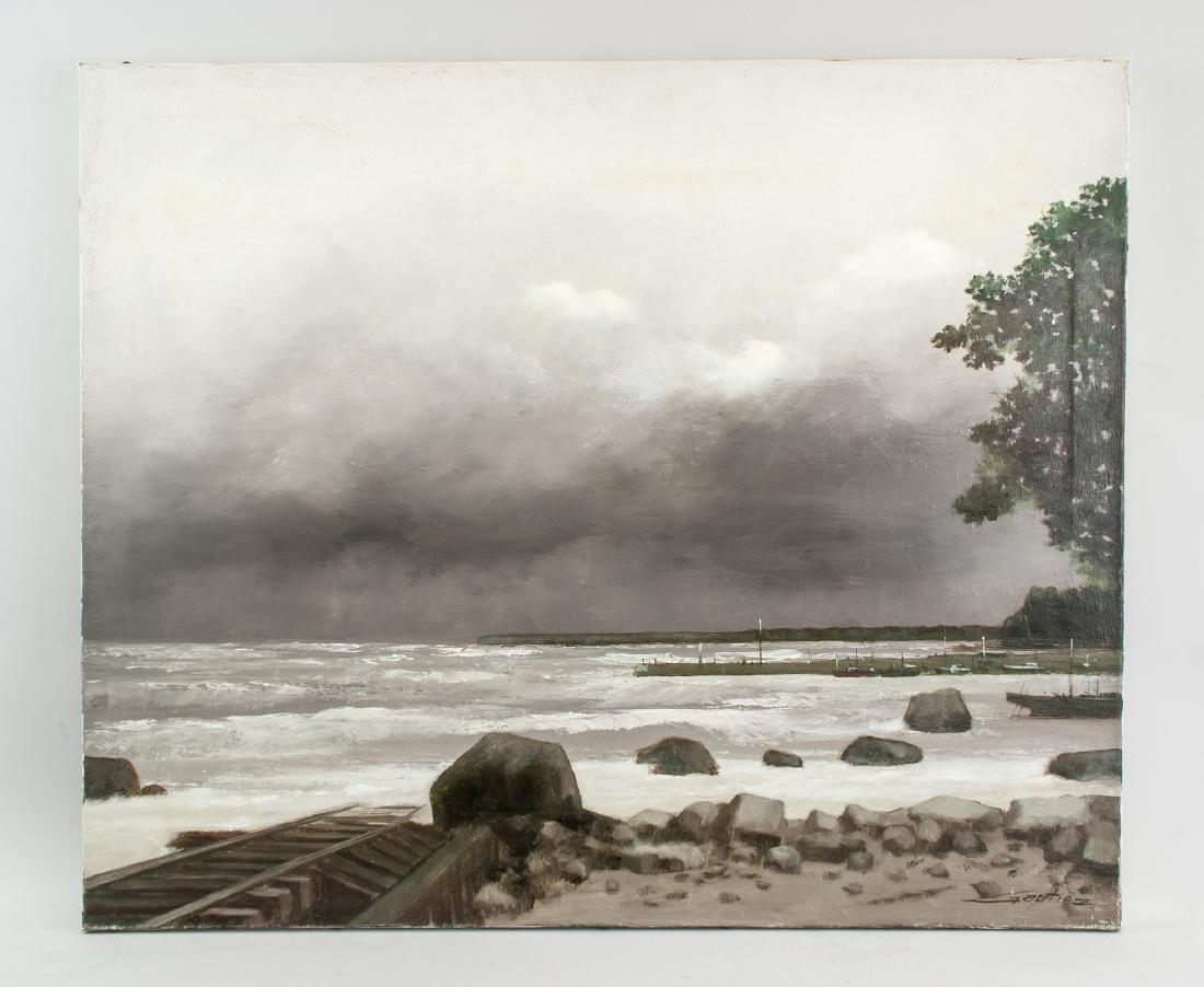 Pierre Gautiez French School Oil on Canvas Coastal - 2