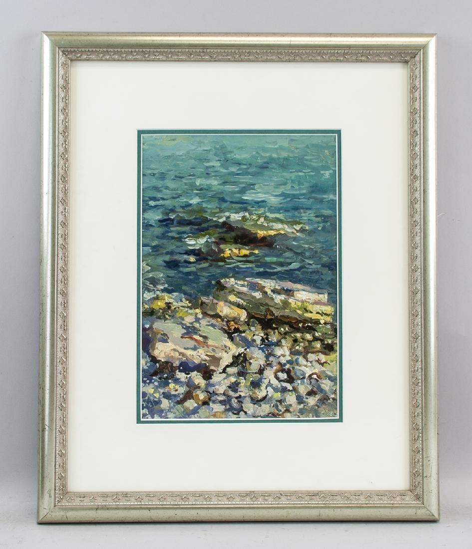 Artist Signed KPM Russian Oil on Paper Seaside - 2