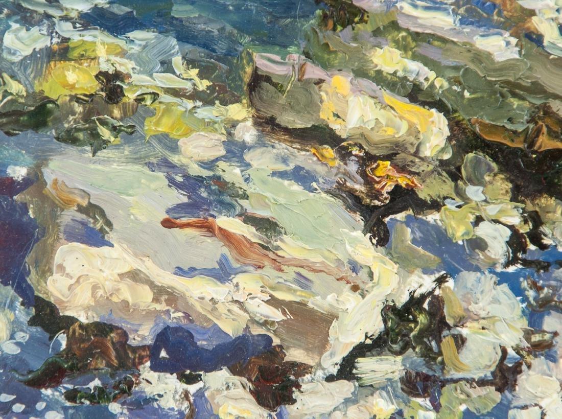 Artist Signed KPM Russian Oil on Paper Seaside - 3