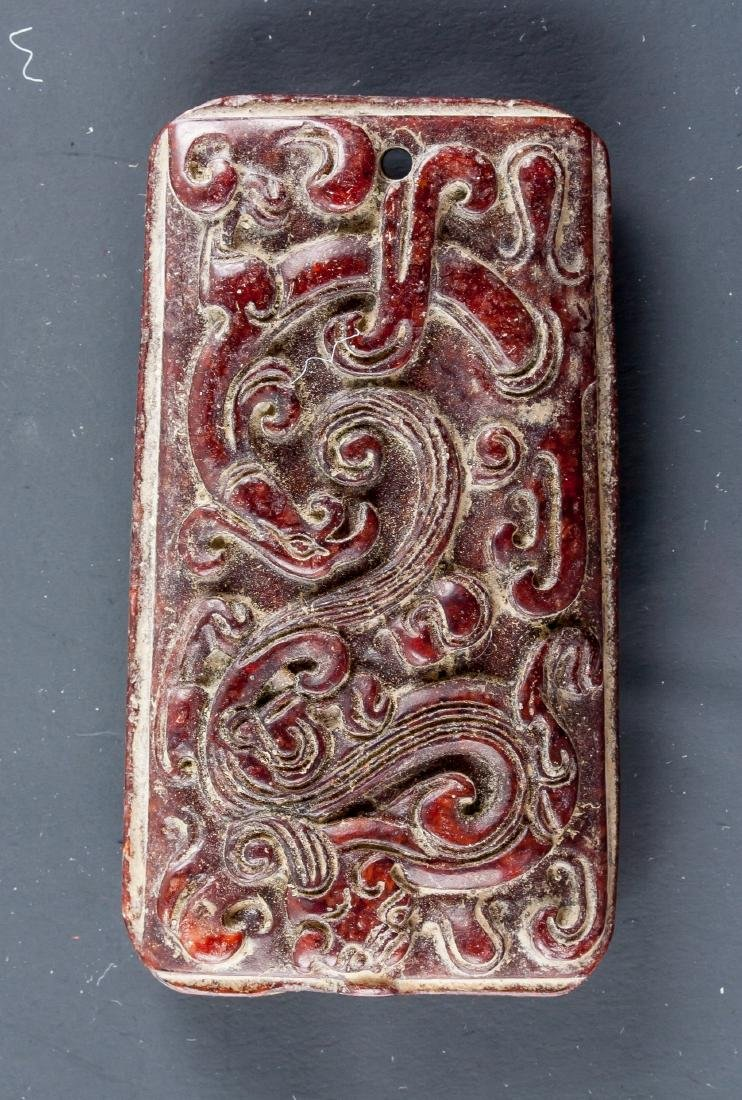 Chinese Red Hardstone Carved Dragon Pendant