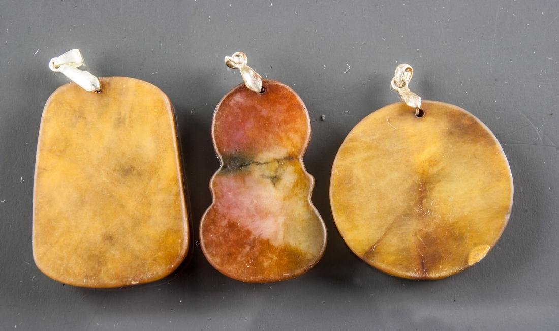 3 Assorted Chinese Hardstone Carved Pendants - 2