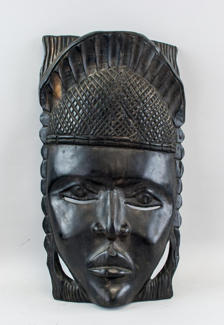 African Black Wood Carved Woman Mask