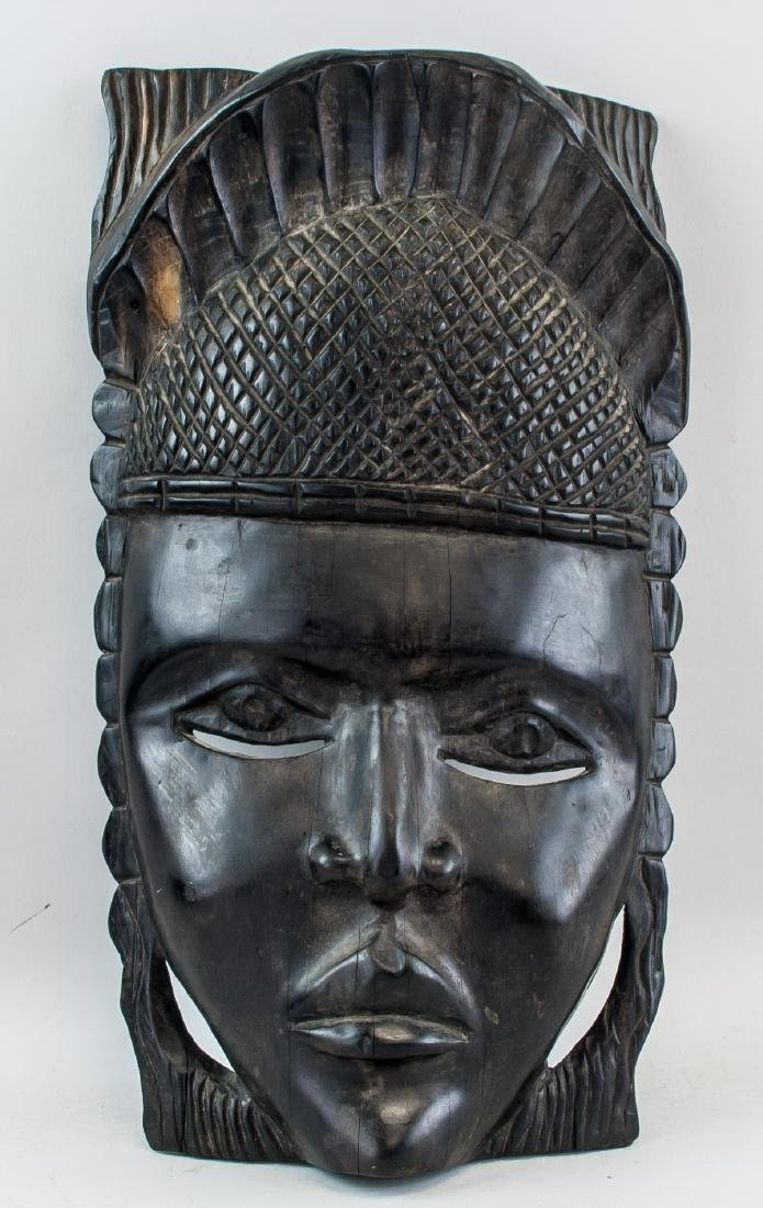 African Black Wood Carved Woman Mask - 2