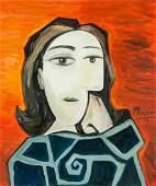 Pablo Picasso Spanish Cubist Oil Canvas Portrait