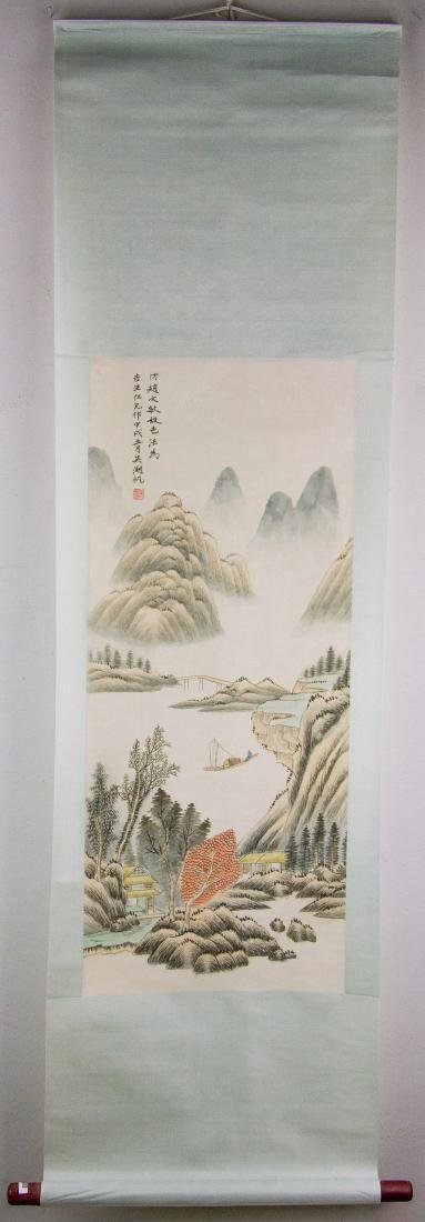 Wu Hufan 1894-1968 Chinese Watercolor Paper Scroll - 2