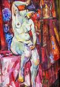 Robert Falk Russian Impressionist Oil on Board