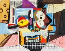 Pablo Picaso Spanish Cubist Oil on Canvas