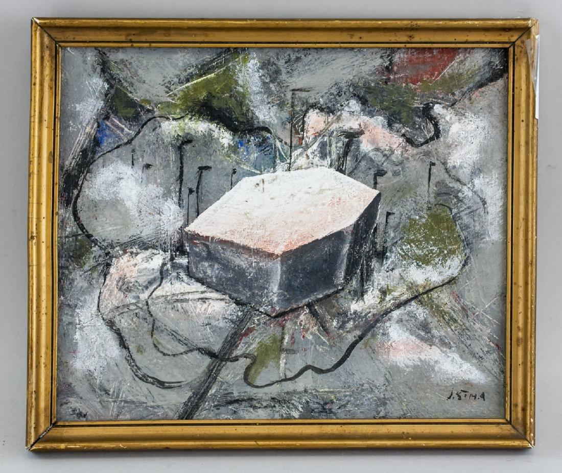 Josef Sima Czech Modernist Oil on Board Abstract