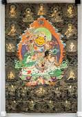 Chinese-Tibetan Print Tangka of Jambhala on Canvas
