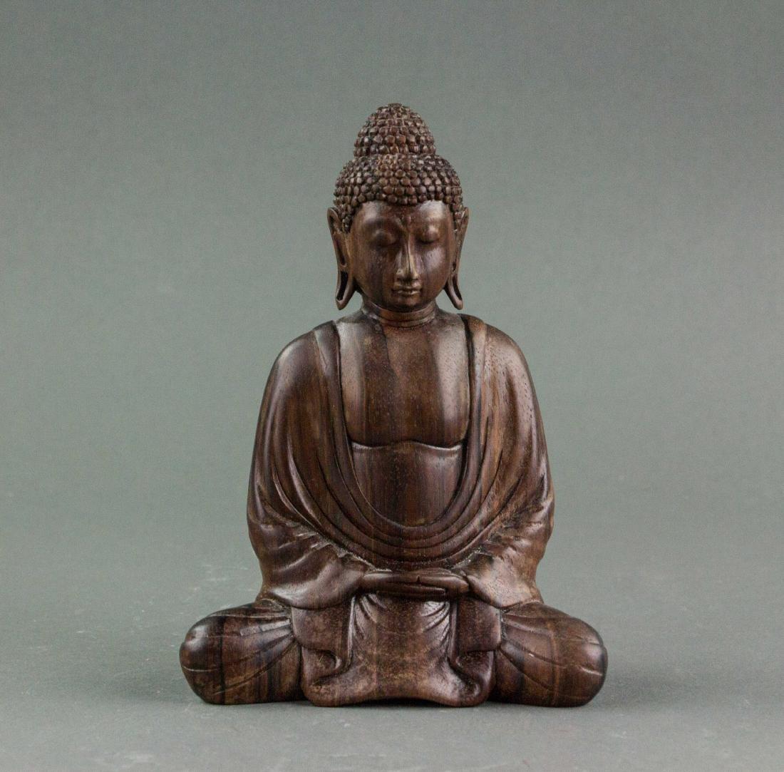 Chinese Fine Zitan Wood Carved Buddha Statue