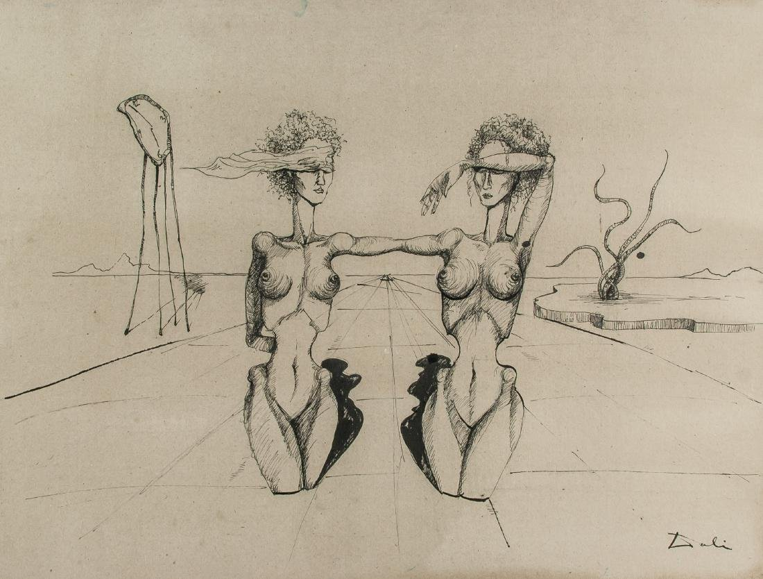 Salvador Dali Spanish Surrealist Ink on Board