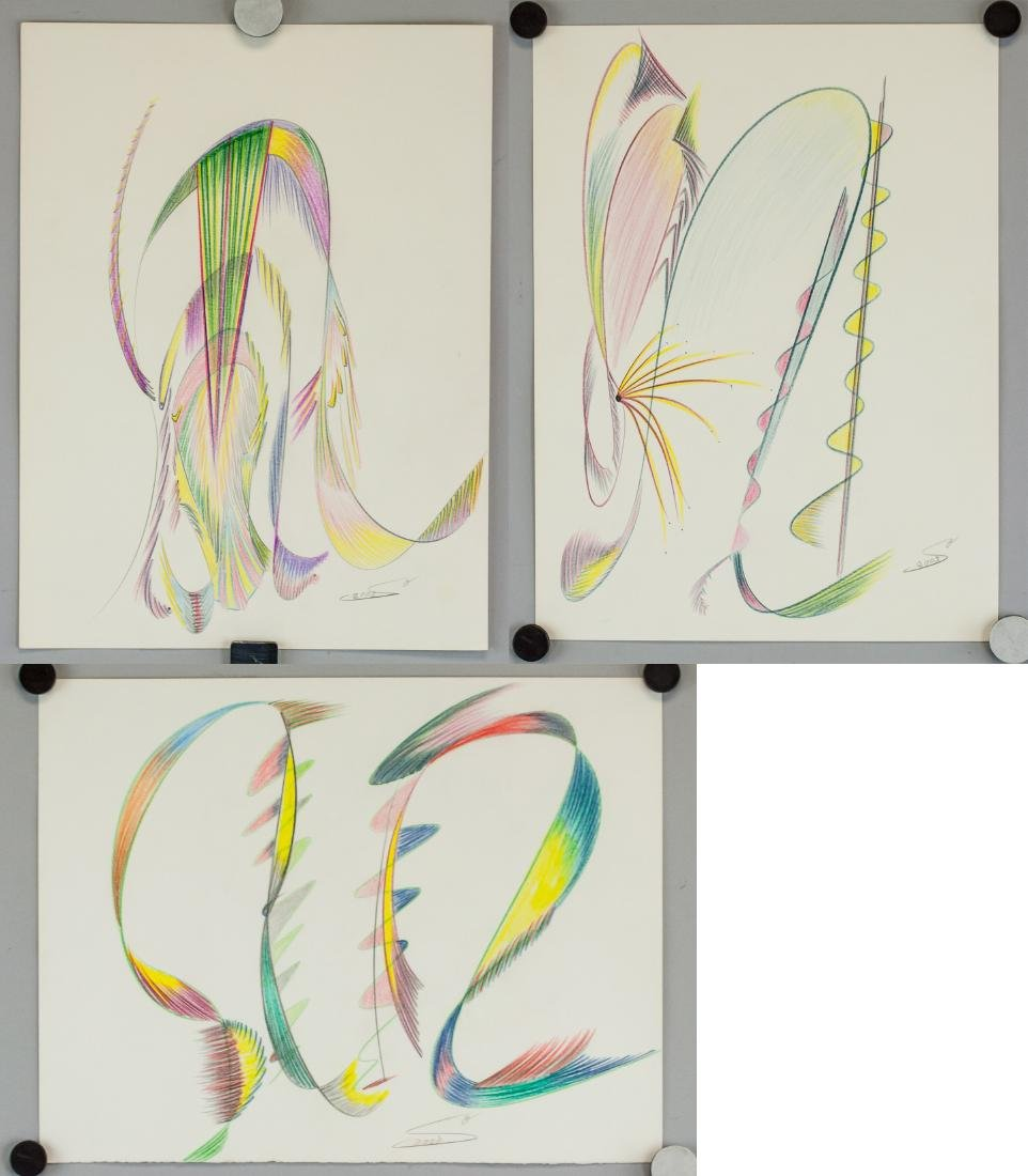 Three Abstract Color Pencil on Paper 2003 Signed