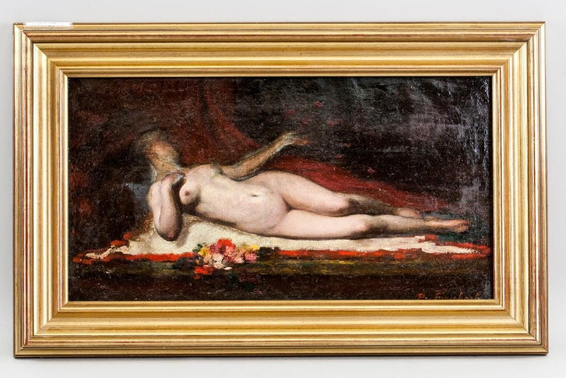 Oil on Canvas Reclining Nude Framed P. Fanbech