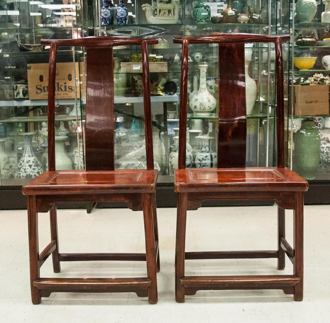 Pair of Chinese Lacquered Elm Wood Chair