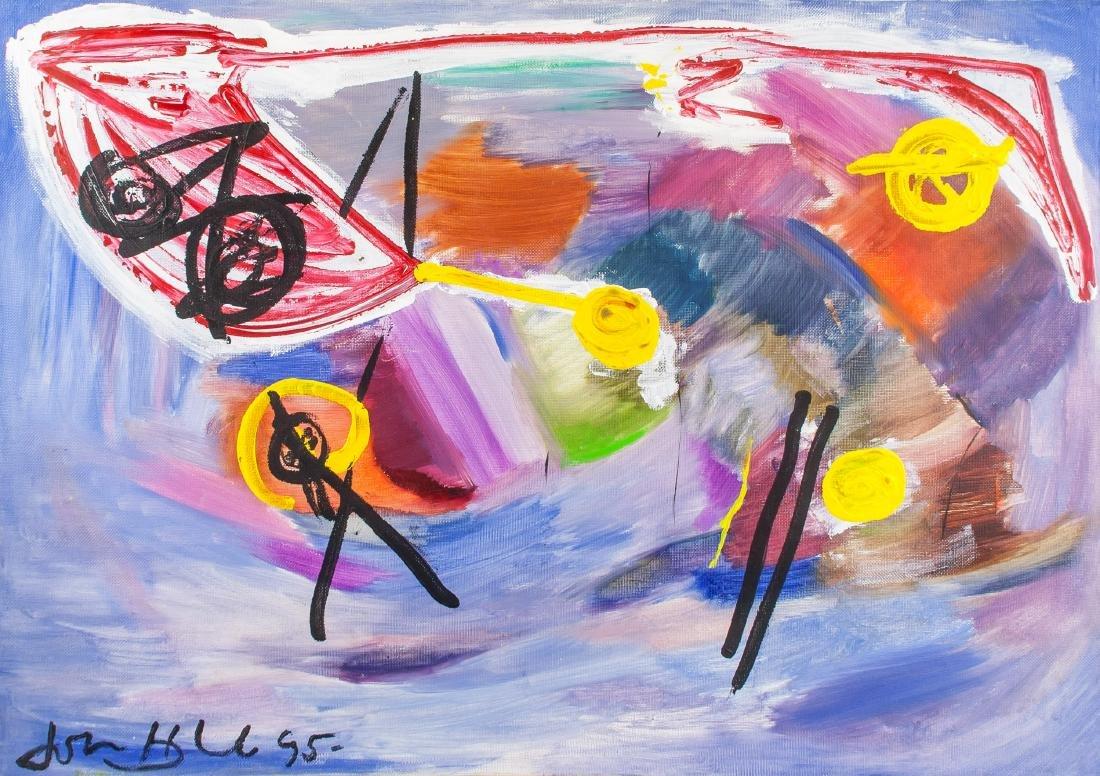 John Hoyland British Abstract Oil on Canvas '95