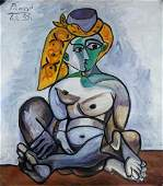 Pablo Picasso Spanish Cubist Oil on Canvas