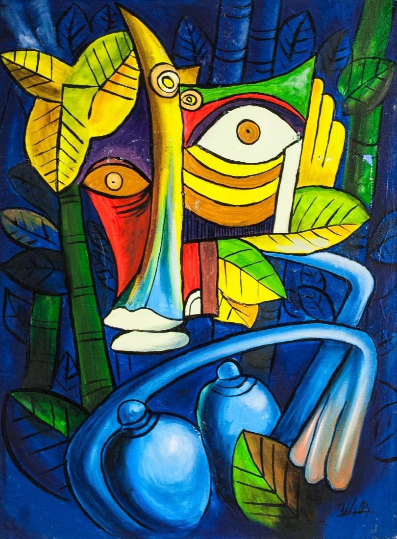 Wifredo Lam Cuban Surrealist Oil on Canvas